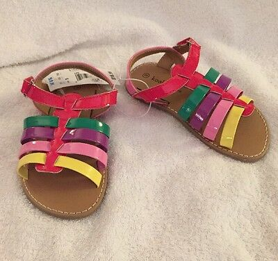 Girls Sandals Size 9 Multi Colored Rainbow Toddler Shoes New NWT