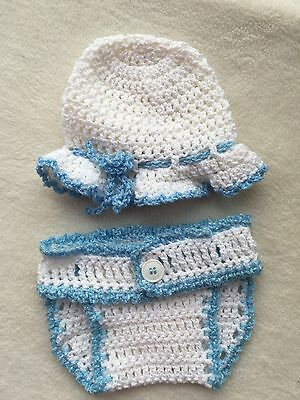 Newborn Baby Girl White & Blue Mop Hat And Diaper Cover Set~ New