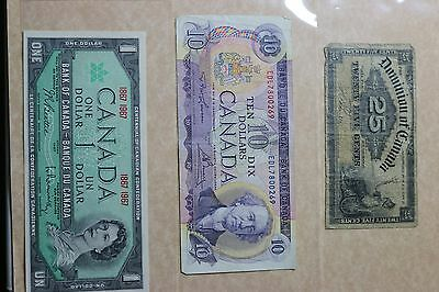 Lot of 12. BANK OF CANADA Bank Notes. $1, $2 & $10 Vintage Canadian Currency.