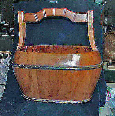 Fine Vintage Large Chinese Hand Made Wooden Rice Carry Basket Great Patina
