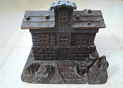 Antique Black Forest Tramp Art Log Cabin Style Hand Carved Covered Box