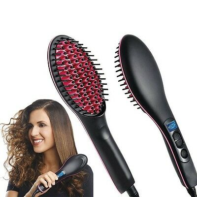 Simply Straight LCD Digital Combs Electric Ceramic Hair Straightening Brush Hot