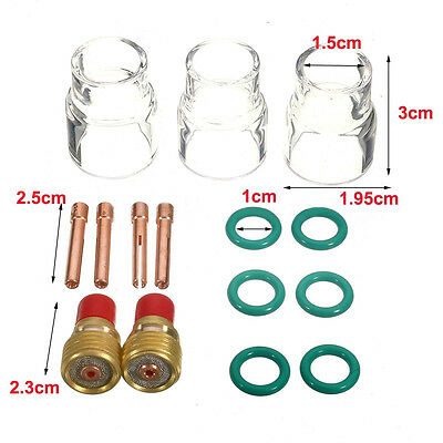 """15 pcs TIG Welding Torch Gas Lens #12 Pyrex Cup Kit for 1/16"""" WP-9/20/25 Series"""