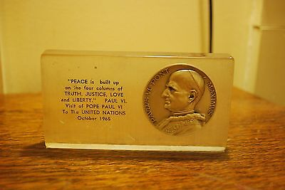 Pope Paul VI Coin In Lucite Paperweight with Quote