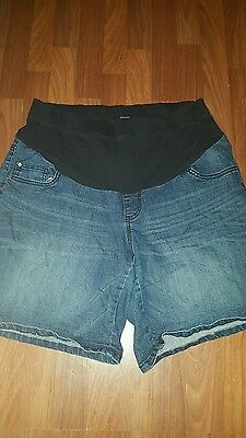 Two Hearts Maternity Womens Denim Shorts Plus Size 1X