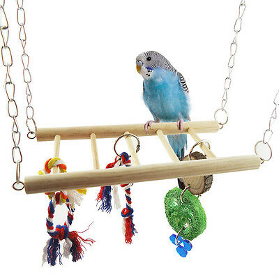 Pet Bird Parrot Parakeet Budgie Cage Hamster Hammock Swing Hanging Ladder Toy