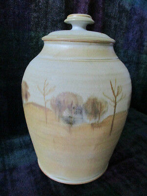 Australian Studio Pottery Large Maldon Pottery lidded pot - gumtree scene design