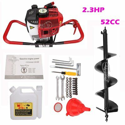 """52CC Gas Powered Post Hole Digger 2.3 HP Fence Ground Drill w/ 4"""" 10'' Auger Bit"""