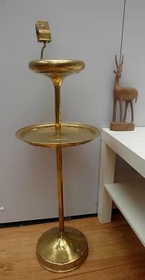 Vintage BRASS Smokers STAND with MATCH Box HOLDER & Table GLASS Ashtray QZZQ SA