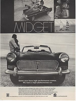 1969 MG Midget Original Vintage Print Ad Car Automobile
