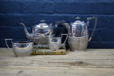 Stunning Vintage Silver Plated Walker & Hall English Four Piece Tea Set