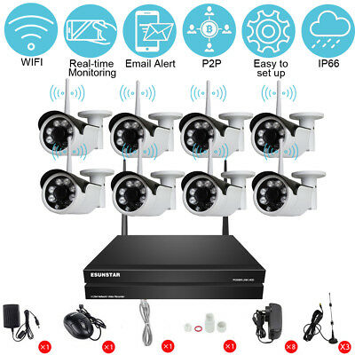 8CH Wireless 720P NVR Outdoor HD 1.0MP Camera Kit CCTV Security Home System UK