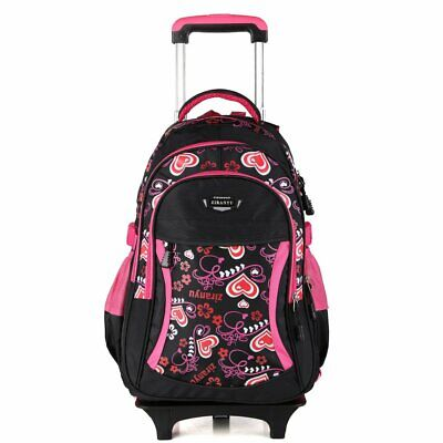 Boy's Girl's Kids Removable Wheeled Trolley Backpack Luggage School Bag Baggage