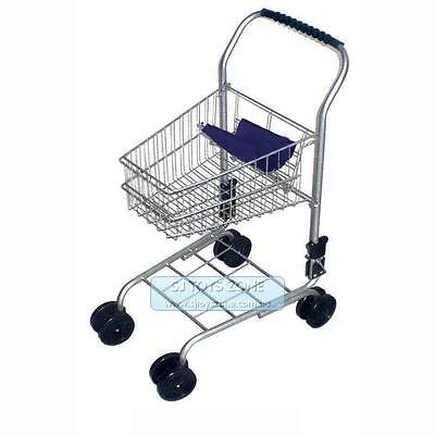 Blue Metal Shopping Supermarket Trolley Cart Pretend Play Kids Toy FREE SHIPPING