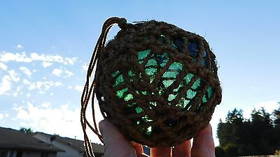 Vintage Norwegian Netted Glass Float Norway W/ Dotted  L  Seal Button