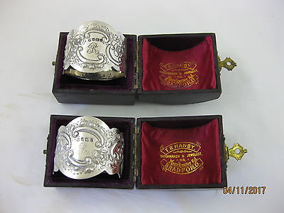 Antique Solid Silver  PAIR of LARGE ORNATE NAPKIN RINGS  Hallmark SHEFFIELD 1912