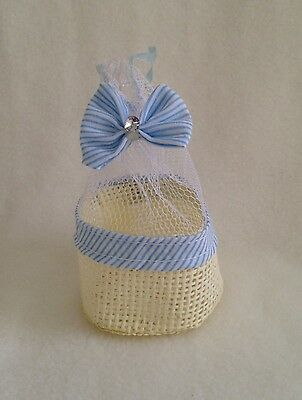 48 x blue baby boy Bomboniere baskets - favour/christening bags