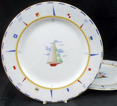 Fitz Floyd REGATTA 2 Dinner Plates featuring Red & Green Sails GOOD CONDITION