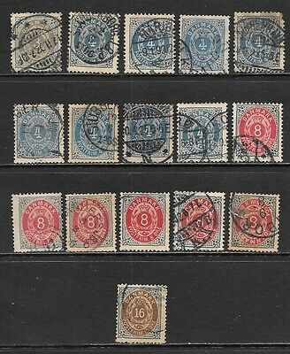 DENMARK 1875-1904 Numeral Issues Selection Used (Apr 0116)