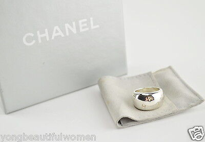 AUTHENTIC COCO CHANEL LOGOS Sterling Silver 925 *VERY HEAVY* Ring Size 7/7.5