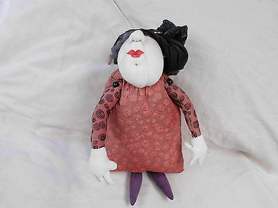 OOAK CLOTH ART HANDMADE DOLL 36cms hgt x 23cms across GOTHIC MYSTICAL WITCH