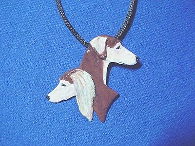 OOAK Feathered smooth saluki heads necklace Pewter Dog Jewelry b Cindy A. #15Gp