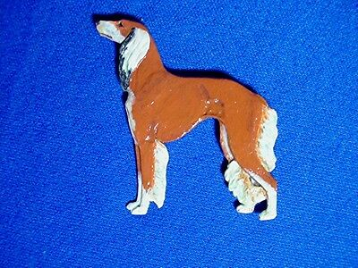 OOAK Red Saluki pin STANDING  Pewter DOG Jewelry by Cindy A. Conter #15Sp