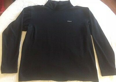 PATAGONIA Capilene Men's Solid Black Mock Neck Long Sleeve Shirt Medium M