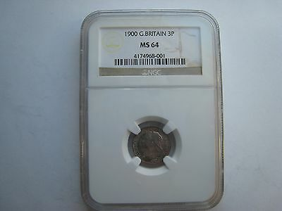 1900 Great Britain 3 Pence MS64