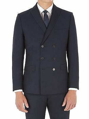 Suit Direct Limehaus Navy Micro Double Breasted Suit Jacket 0045004