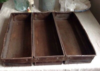Vintage Bread Tin Belgian Baking Triple Tin Rustic Home Decor Display Old Bakery