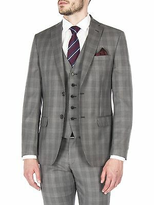 Suit Direct Ben Sherman Grey Check Tailored Fit Jacket 0047146
