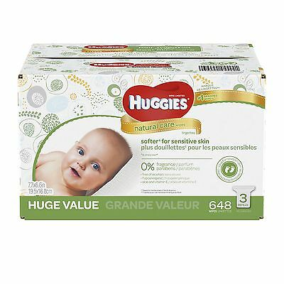 HUGGIES Natural Care Baby Wipes, Refill Pack (648  Sheets Total),