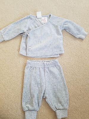 H&M Baby girls grey velour tracksuit 0-1m