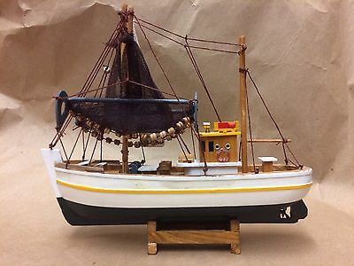 "Antique 10"" Wooden Model Fishing Boat"