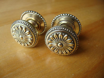 Pair Antique Solid Brass Patterned Door Knobs, Bham, A2907 Pattern