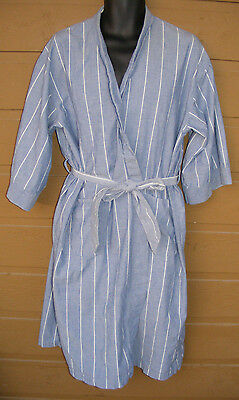 Vintage CHRISTIAN DIOR Cotton Robe, One Size, Blue w/White stripes, tie belted,