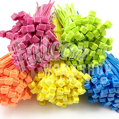 Strong Fluorescent Colour Nylon Plastic Cable Ties Yellow Green Blue Orange Pink