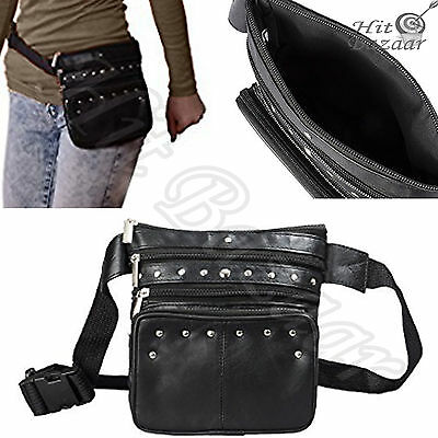 WAIST LEATHER FANNY Pack Women Pouch Bag Black Concealed Travel Gear Accessory