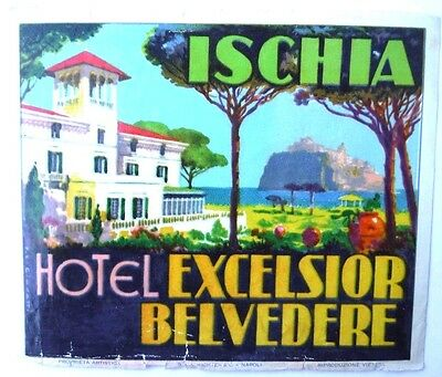Vintage Luggage Label Hotel Excelsior Belvedere Ischia Italy
