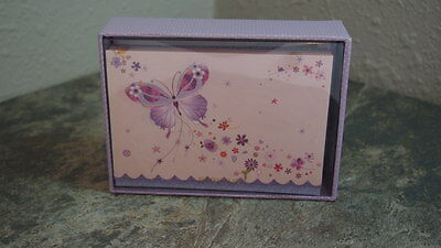 Papyrus Notecards Qty 14 Butterfly Glitter Accents Scalloped Edge Designer New
