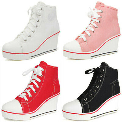 Women's High Top Wedge Heel Canvas Shoes Lace Up Trainers Zip Boots Sneakers