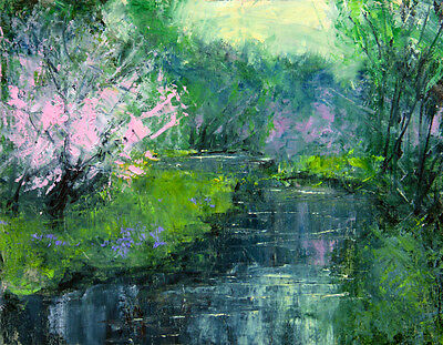 Original Oil Painting Landscape Signed on Canvas River Bank Dogwood TW Nelson