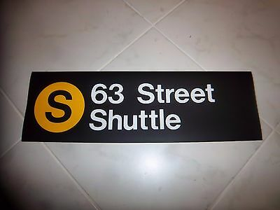 COLLECTIBLE NYC SUBWAY R-32 ROLL SIGN 63rd STREET SHUTTLE HOME LOFT NY TRAIN ART