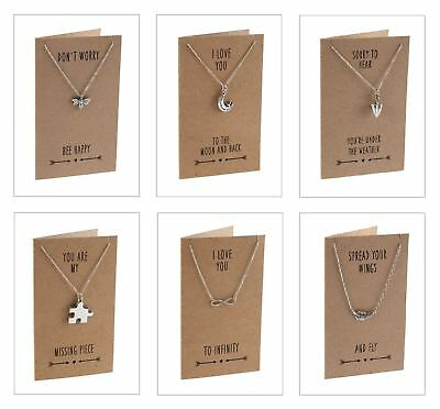Sent and Meant Post Gift Necklace Sentiment Quote Card Friend Birthday Token