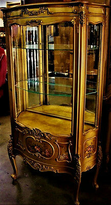 Gorgeous Antique French Louis Style Gold Gilt Vitrine Curio Display Cabinet