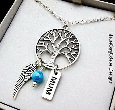 Beautiful Silver MUM Tree Of Life Dream Catcher Dream Charm Pendant Necklace