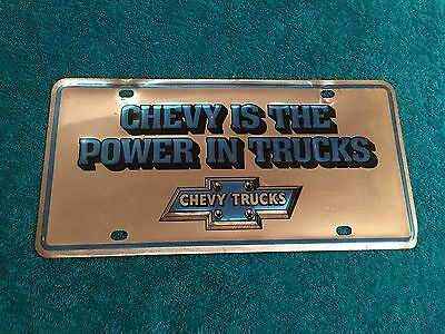 RARE Vintage Chevy is the power in Trucks Chevrolet Embossed Metal License Plate