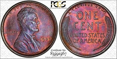 1909 Lincoln Cent Pcgs Ms64Bn Beautifully Toned