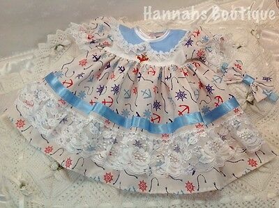 Hannahs Boutique Sale 3-6 Month Baby Frilly Dress & Headband Set Or Reborn Doll